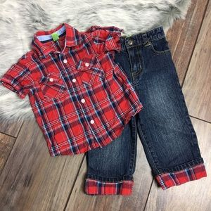 Green Dog boys 2 piece Plaid Shirt Jeans Outfit